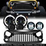 New Combo Grill+ Headlights + Blinkers + Fog Lights for Jeep Wrangler JK 2007-2017