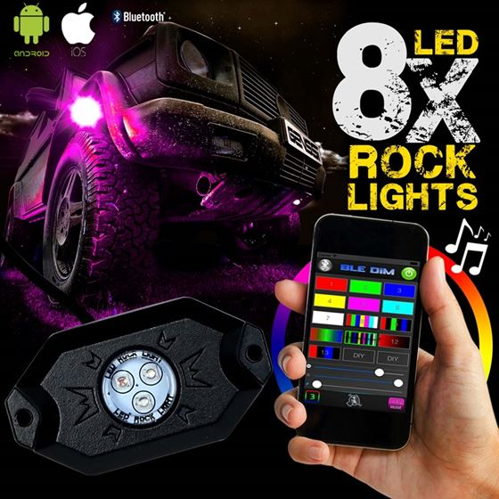 8PC RGB LED COLOR WATERPROOF WIRELESS ROCK LIGHTS WITH BLUETOOTH