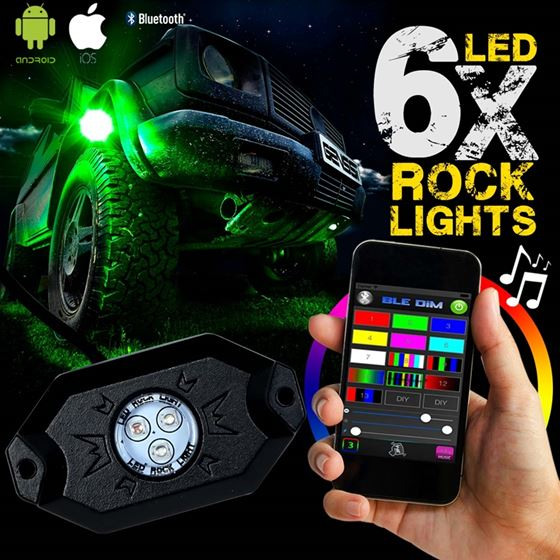 6PC RGB LED COLOR WATERPROOF WIRELESS ROCK LIGHTS