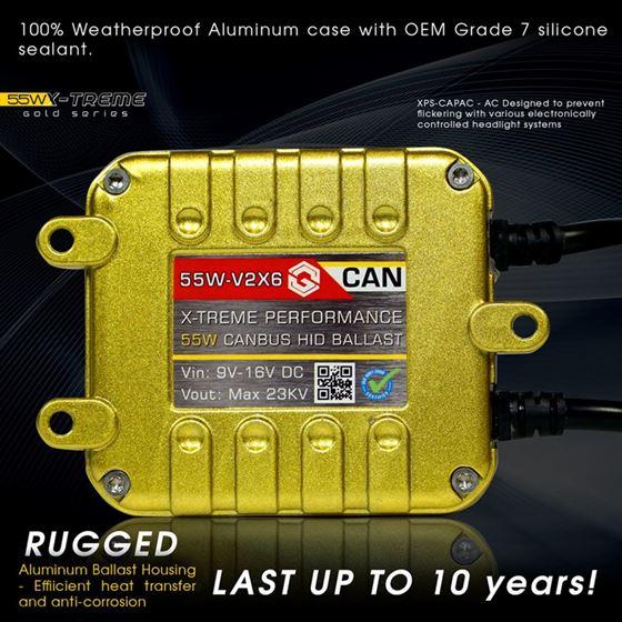slim xenon 55W HID ballast canbus gold series x6v2