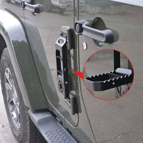 Door Hinge Step Metal Folding Foot Peg For Jeep Wrangler JK 2007+ Pair Black