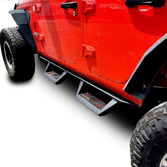 Running Boards Side Steps Rail Steps Rock Sliders for Jeep Wrangler JLU 4dr 2018 up Dual Style
