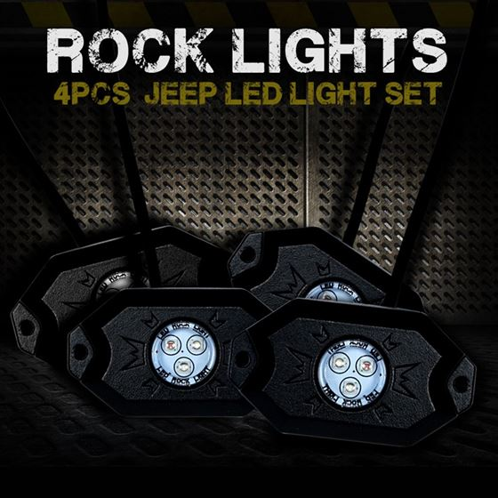 4PC RGB LED COLOR WATERPROOF WIRELESS ROCK LIGHTS WITH BLUETOOTH