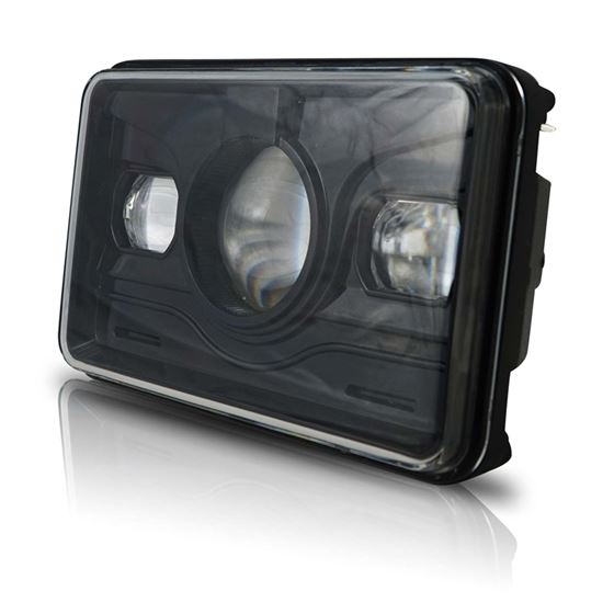 4x6 LED PROJECTOR DEMON DRL EYES HEAD LIGHT BLACK