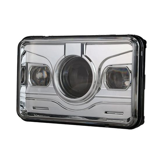 4x6 LED PROJECTOR DEMON DRL EYES HEAD LIGHT CHROME